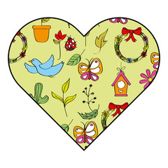 heart decoration season spring leaves flower bird butterfly elements vector illustration