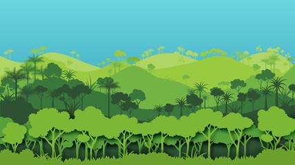 Green silhouette forest landscape background.Nature and environment conservation concept of paper art style.Vector illustration.