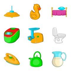 Wash wall icons set, cartoon style