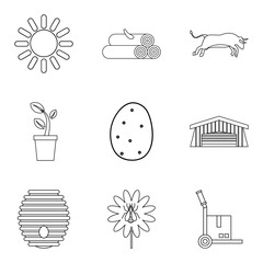 Ancestral home icons set, outline style