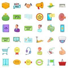 Large stock icons set, cartoon style