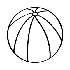beach ball rubber toy play image vector illustration outline design
