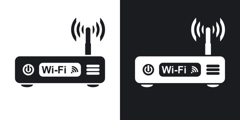 Vector wireless router icon. Two-tone version on black and white background