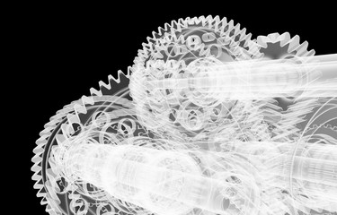 Gears, shafts and bearings. X-ray render