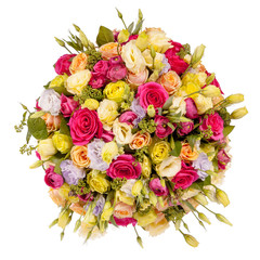 Bright bouquet shot from above, isolated on white