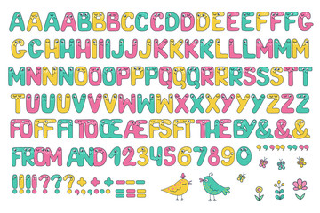 Kids alphabet with eyes and numeral