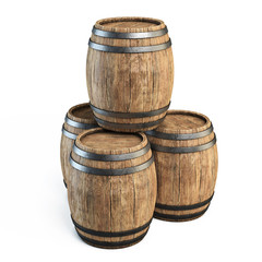 Wooden barrels isolated on white background 3d illustration