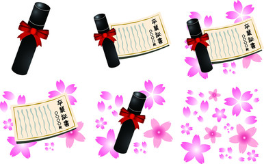 Diploma and cherry blossoms set