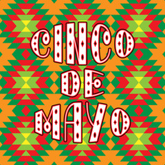 Cinco de mayo. Lettering phrase in ethnic ornament