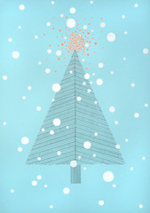 hand made line drawing of a christmas tree, with big, fat snow flakes falling around it