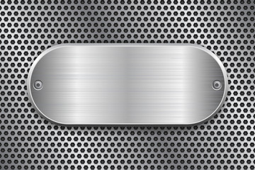 Oval brushed metal plate on perforated texture