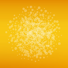Beer background with realistic bubbles. Cool beverage for restaurant menu design, banners and flyers. Yellow square beer background with white frothy foam. Cold pint of golden lager or ale.