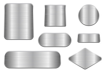 Brushed metal plates. Set of geometric shape plaques