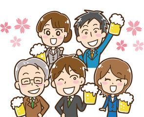 桜と生ビールを持つ会社員のイラスト素材