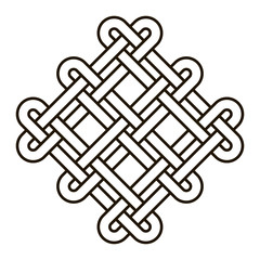Celtic knot geometric ancient cross tribal vector knotted logo illustration. Knot work gaelic tattoo knotty ornament. Geometrical black knit circle ornate graphic.