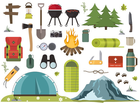 Hiking camping equipment vector campfire base camp gear and accessories illustration.