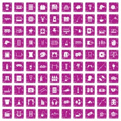 100 leisure icons set grunge pink