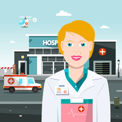 Woman Doctor with Hospital on Background. Vector Illustration with Ambulance Car and Helicopter.