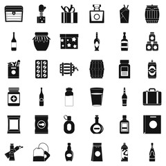 Housing stock icons set, simple style
