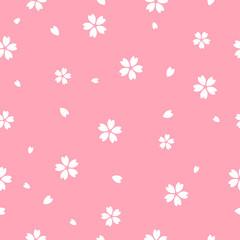 Wall Mural - Sakura flower seamless pattern vector illustration. Sakura with petals falling on pink background, Flat design