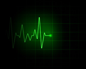 Abstract green pulse backdrop illustration. Medical background