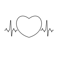 Pulse rate with heart sign inside. Medical illustration