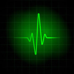 Green medical background. Heartbeat line illustration for design