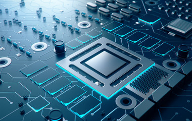 Electronic chip,3d rendering.