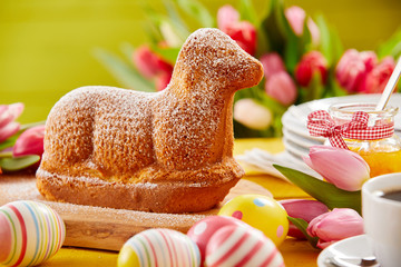 Freshly baked Spring lamb shaped Easter cake