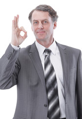 """successful businessman, showing the gesture """"OK"""""""