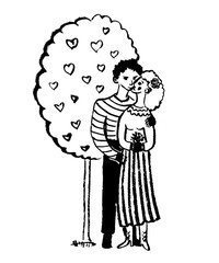 drawing picture two lovers hugging and kissing under a tree with hearts, sketch, hand-drawn comic graphic vector illustration