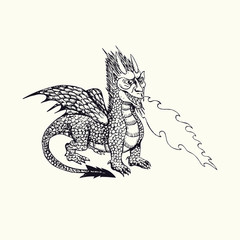 Horned dragon with wings blowing fire, hand drawn doodle sketch, isolated vector outline illustrationŒ