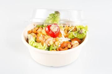 take away bowl with fast food salad
