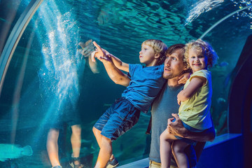 happy family looking at fish in a tunnel aquarium