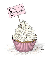 Cupcake withwhite cream and topper pick with text 8th March on white background, illustration