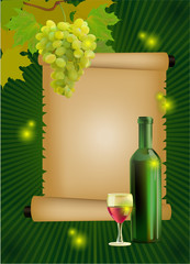 Vector illustration ripe grapes, wine glass and bottle
