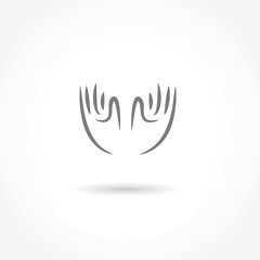 hands icon vector line illustration