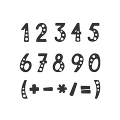 Vector set of numbers and mathematical symbols