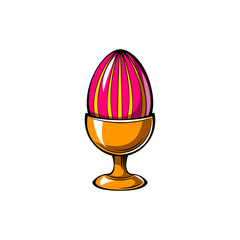 Elegant easter egg decoration on top of egg stand. Vector.