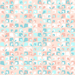 Floral mid century retro background. Pastel pink and mint colors. Seamless vector pattern. Abstract blush pink background.