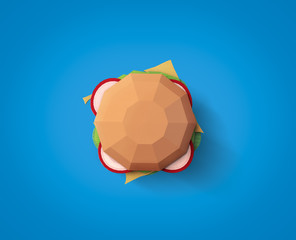 Fast food concept. Burger from cardboard on blue background. Cartoon food product packaging. 3D model render