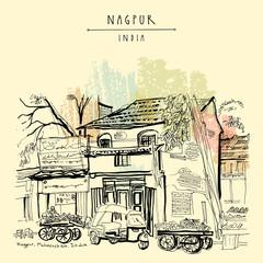 Nagpur, Maharashtra, India. Street in Muslim quarter. Travel vintage hand drawn postcard
