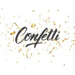 Confetti. Gold confetti pieces. Holiday festive background