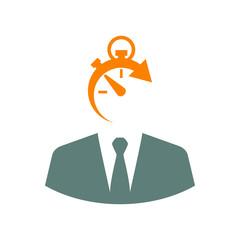 Icono plano hombre de negocios con cronometro en gris y naranja