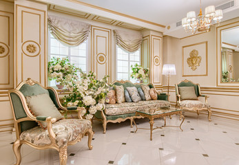 Luxury classic living room interior Wall mural