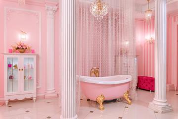 Spacious bathroom in pink