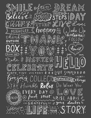 Chalk vintage calligraphy set on blackboard background. Massive inspirational lettering collection.
