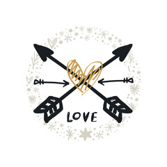 Vector boho arrows logo and ornate circle
