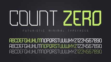 Vector futuristic display font design, alphabet, character set