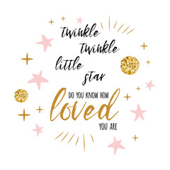 Twinkle twinkle little star text with gold ornament and pink star for girl baby shower card template